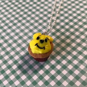 Sterling silver Winnie the Pooh cupcake necklace